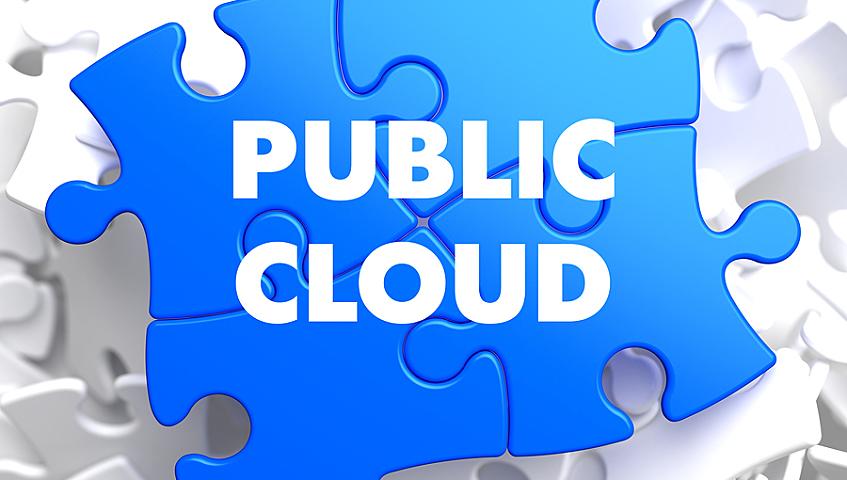 Public Cloud on Blue Puzzle on White Background.