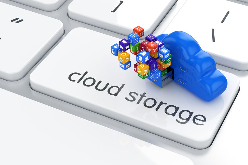 23326032 - 3d render of cloud storage concept. icon on the computer keyboard